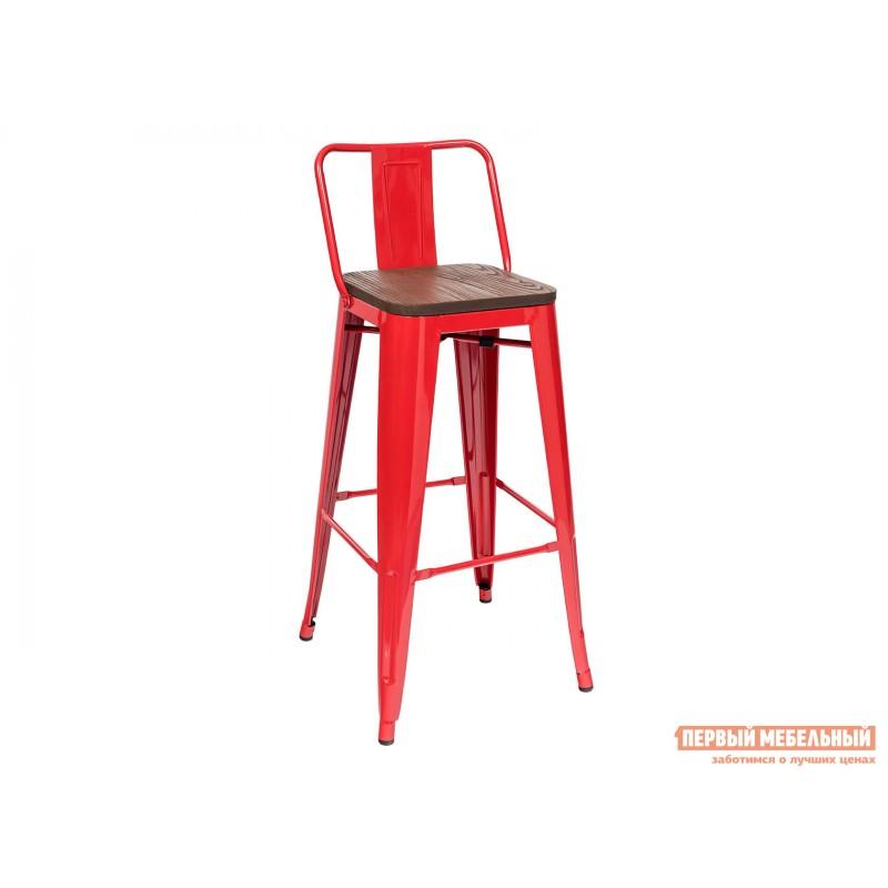 Барный стул  Толикс со спинкой Красный, глянец / Темное дерево