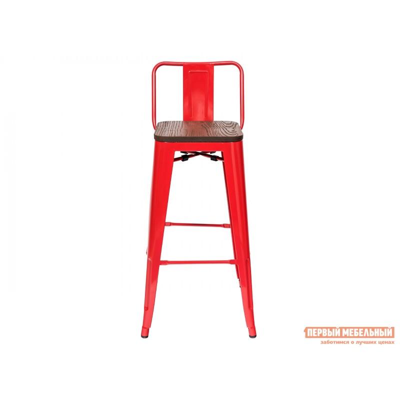 Барный стул  Толикс со спинкой Красный, глянец / Темное дерево (фото 2)