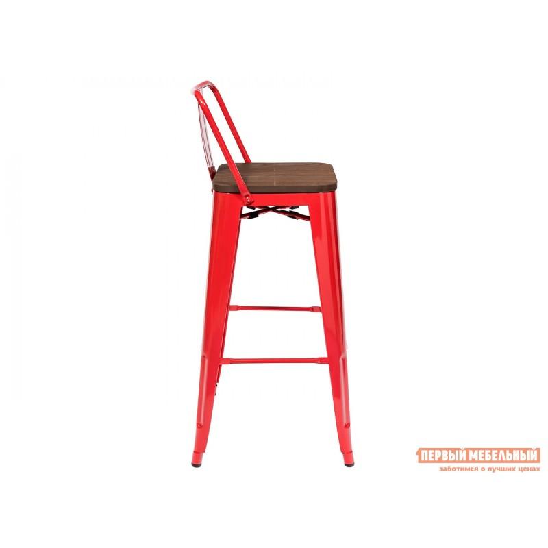 Барный стул  Толикс со спинкой Красный, глянец / Темное дерево (фото 3)
