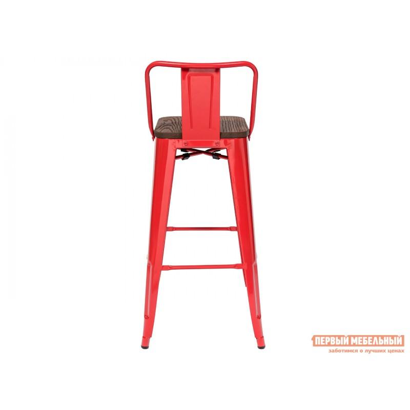 Барный стул  Толикс со спинкой Красный, глянец / Темное дерево (фото 4)