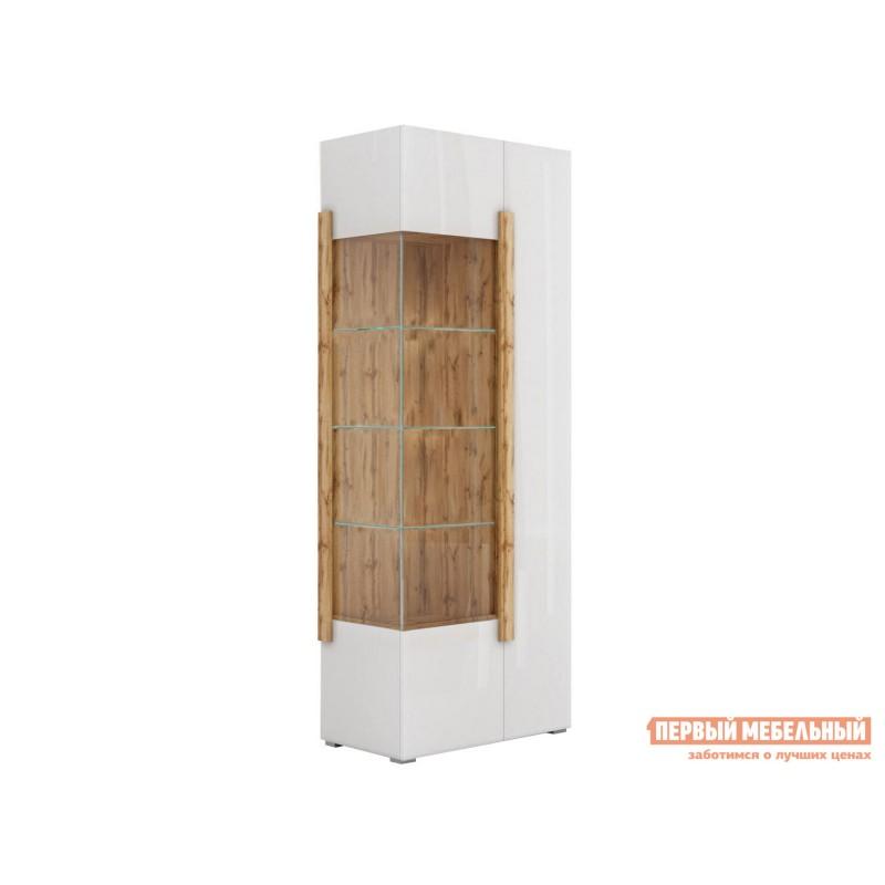 Шкаф-витрина  Шкаф - витрина 2-х дверная 1901.М1 Дуб Ватан / Белый лак, Без подсветки, Без топа-накладки