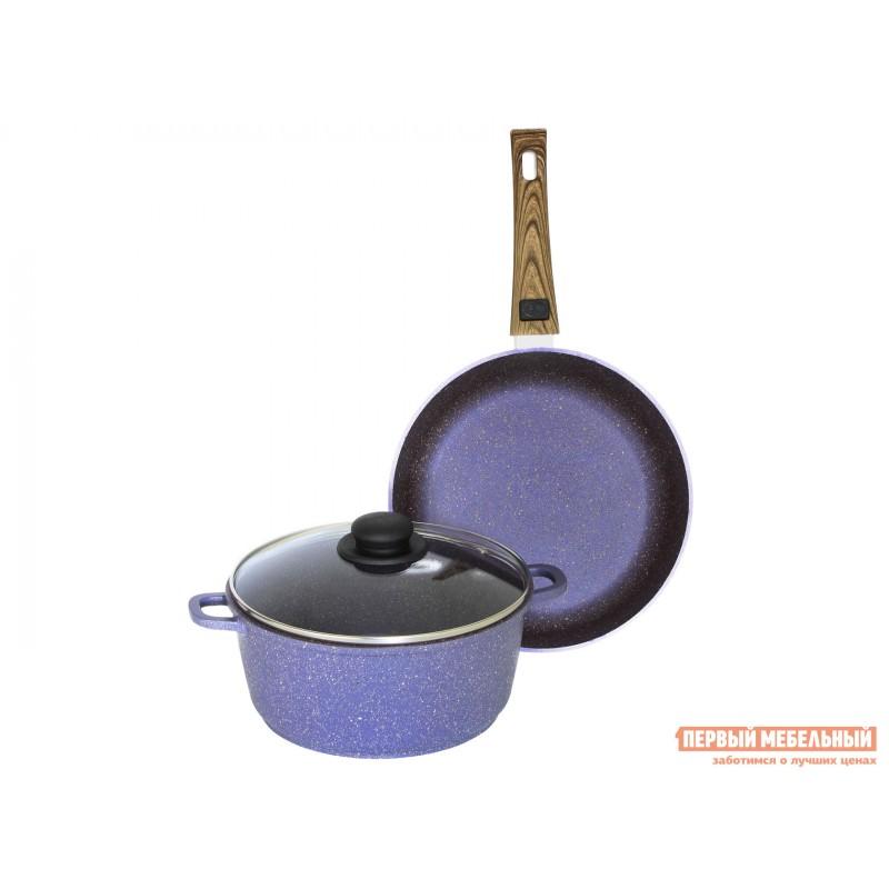 Набор кухонной посуды  Набор посуды COLOR(Provence). Комплект: Сковорода 24 см, глубокая со съёмной ручкой. Кастрюля 4 л. Стеклянная крышка со стальным Provance, фиолетовый перламутр
