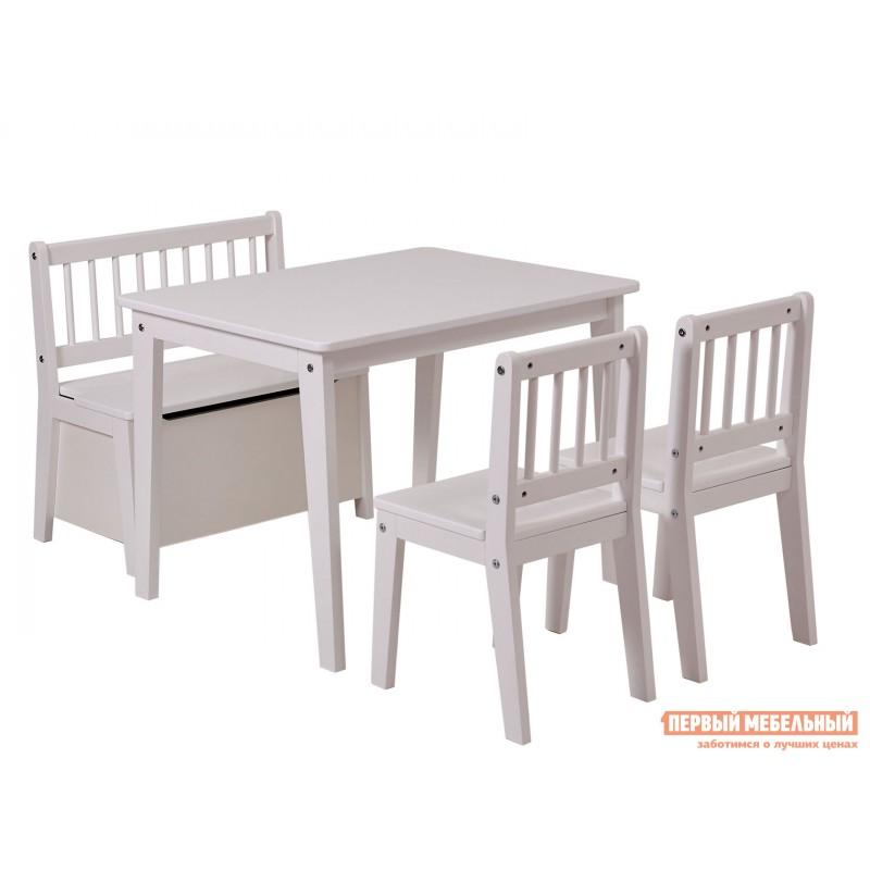 Столик и стульчик  Комплект детской мебели Polini kids Dream 195 M, со скамьей и стульями Белый