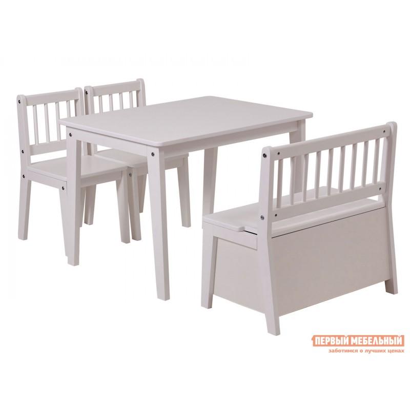 Столик и стульчик  Комплект детской мебели Polini kids Dream 195 M, со скамьей и стульями Белый (фото 2)