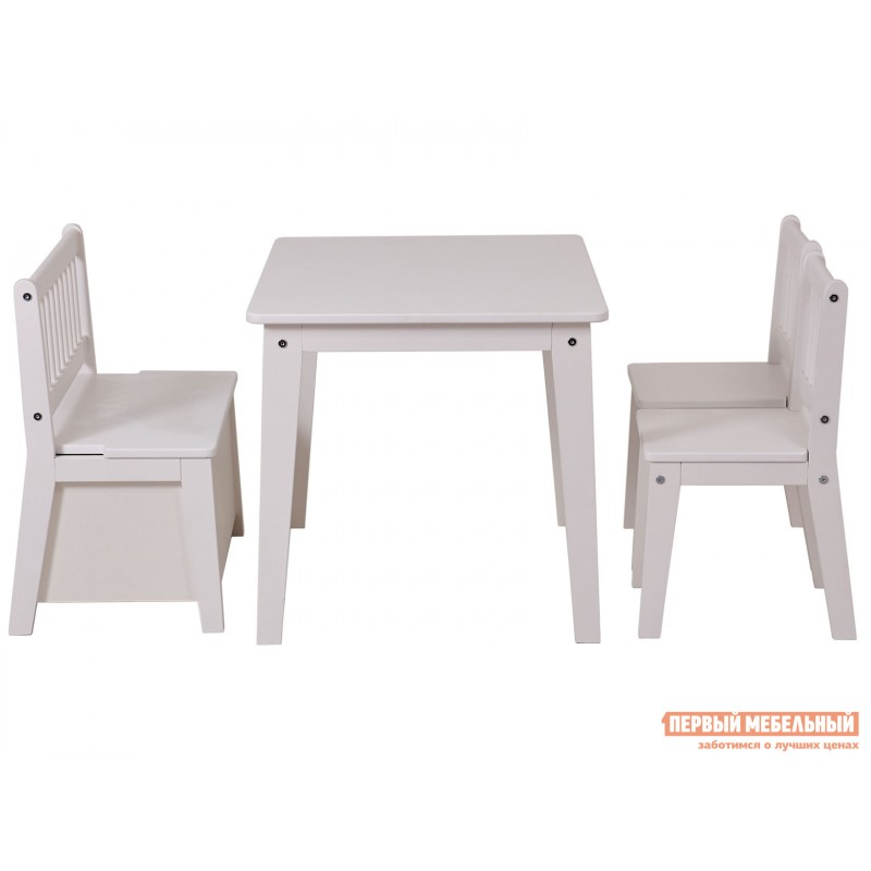 Столик и стульчик  Комплект детской мебели Polini kids Dream 195 M, со скамьей и стульями Белый (фото 3)