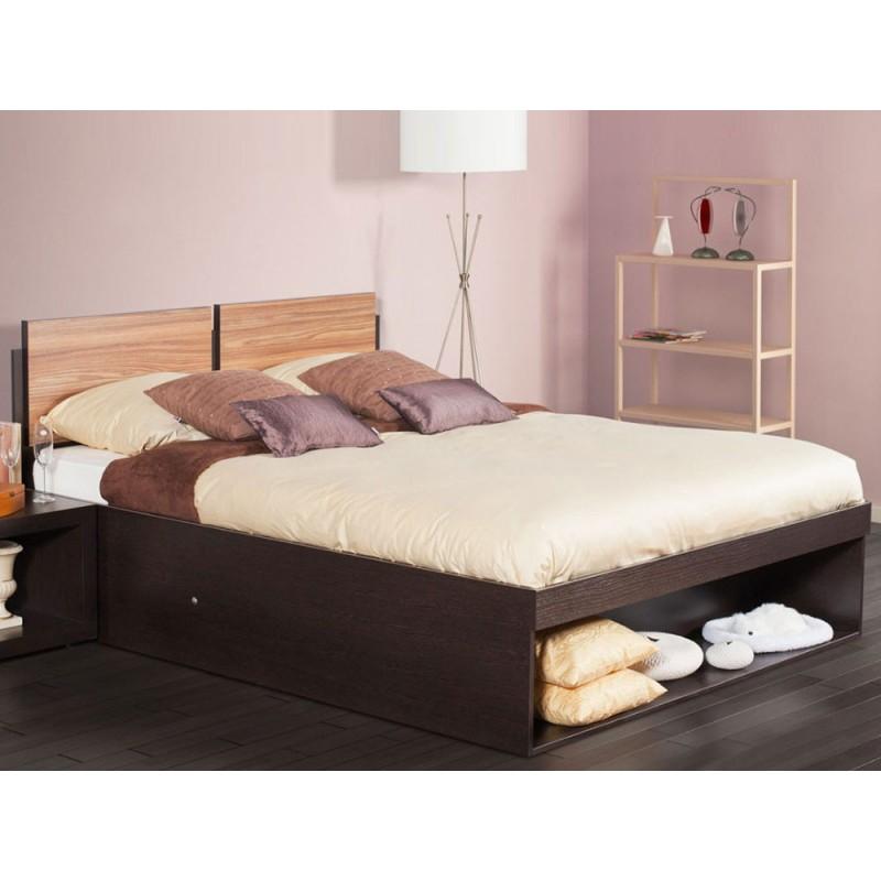Двуспальная кровать  HYPER (спальня) Кровать 1400 Х 2000 мм, Венге / Палисандр (фото 4)
