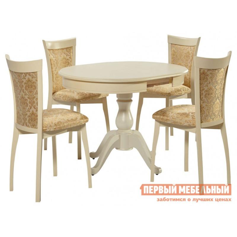 Обеденная группа для столовой и гостиной  Стол Фабрицио + 4 стула Тулон мягких Слоновая кость / Андрис Вензель 160