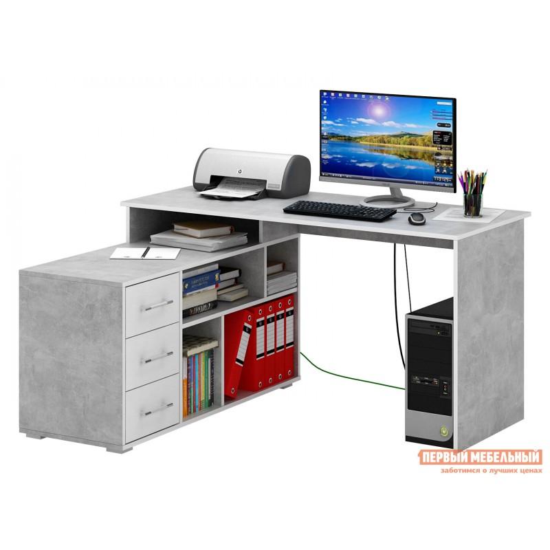 Письменный стол  Краст-2 Бетон / Белый