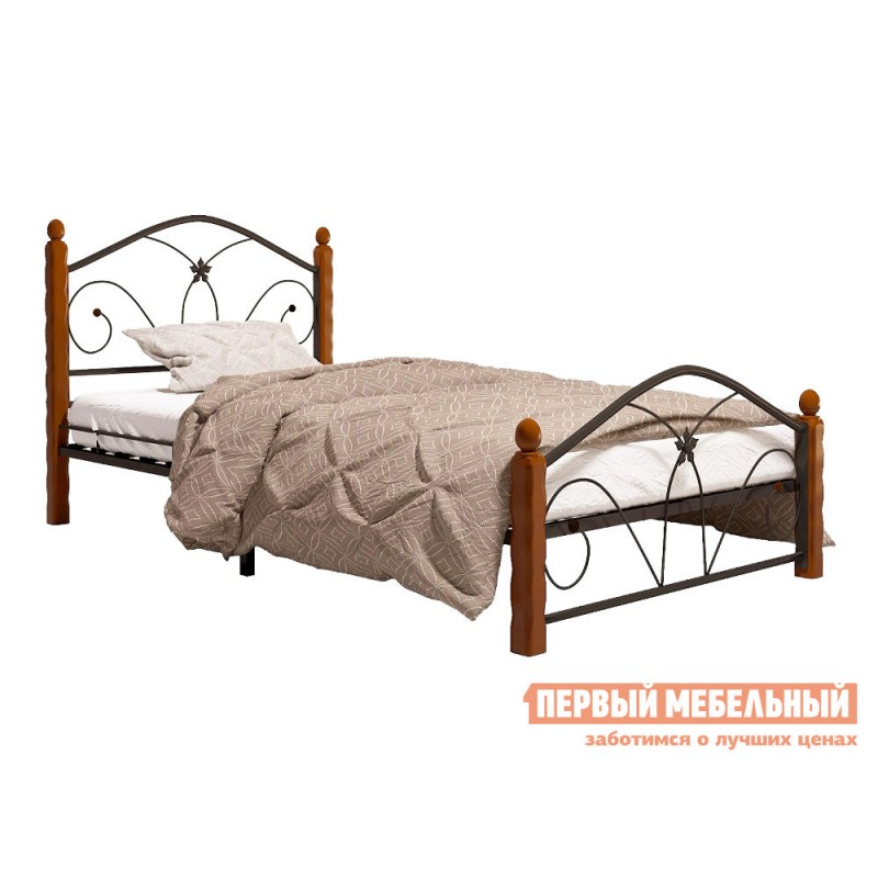 Односпальная кровать  Ливия Черный металл, каркас / Махагон массив, опоры, 90х200 см