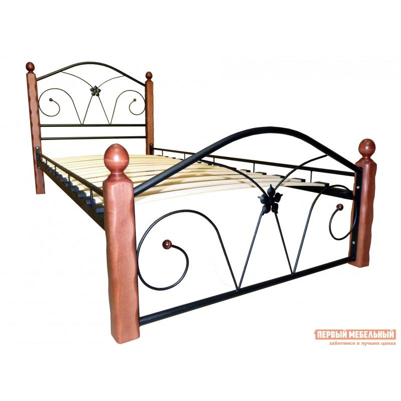 Односпальная кровать  Ливия Черный металл, каркас / Махагон массив, опоры, 90х200 см (фото 2)