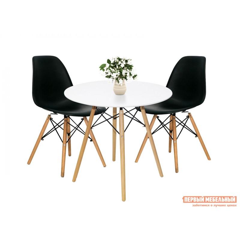 Обеденная группа для столовой и гостиной  EAMES DSW Z-231 + Eames Wood Белый / Черный