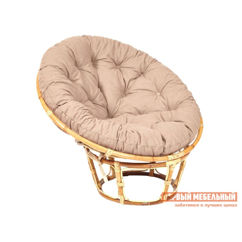 Плетеное кресло  PAPASAN ECO SKIN Натуральный, ротанг / Коричневый, экошерсть