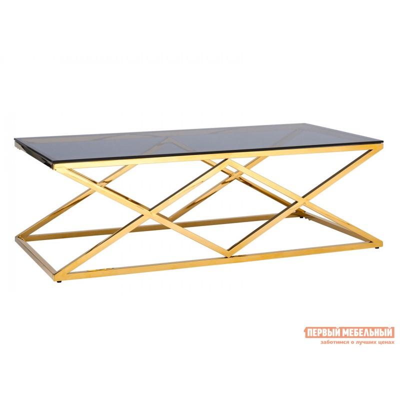 Журнальный столик  ECT-026 Темное стекло / Сталь, золото