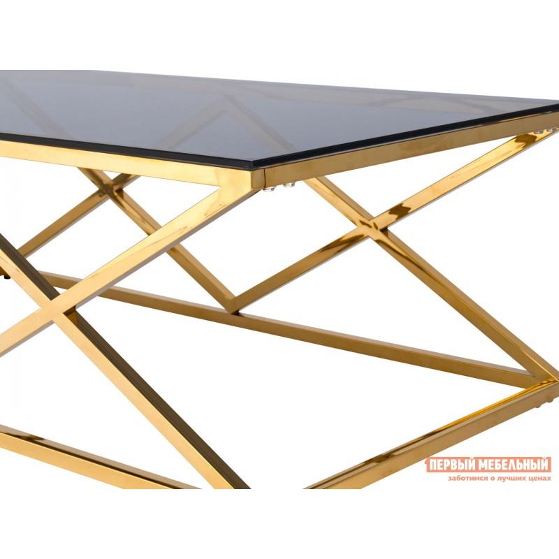 Журнальный столик  ECT-026 Темное стекло / Сталь, золото (фото 3)