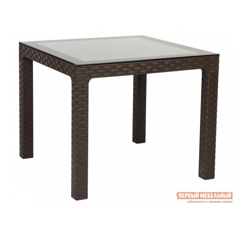 Садовый стол  Стол пластиковый Arizona со стеклом DEL/AR-R/90x90/GL/W Коричневый, 900 мм