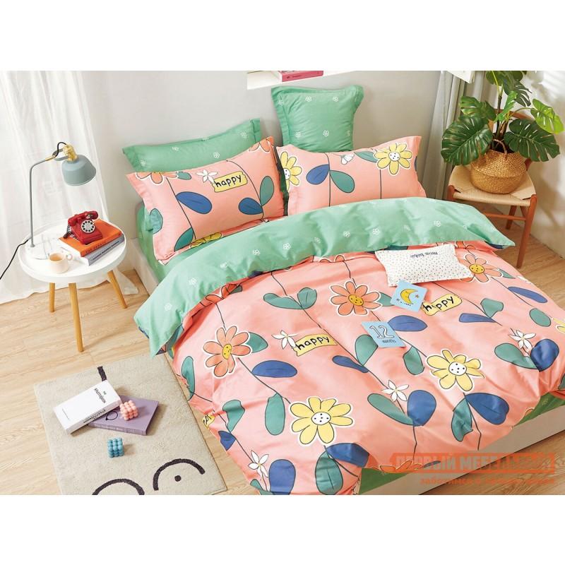 Комплект постельного белья  Хэппи Розовый, мятный (Хэппи), сатин