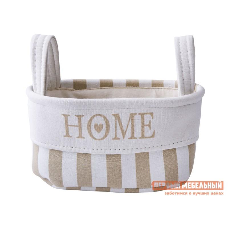 Корзина для хранения  Хоум Бежевая полоска, хлопковый шнур, S
