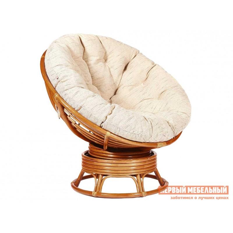 Плетеное кресло  PAPASAN Коньяк, ротанг / Бежевый, рогожка, С подушкой, Бежевый, рогожка