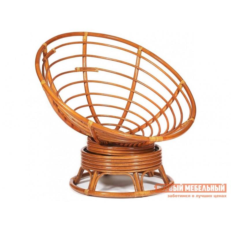 Плетеное кресло  PAPASAN Коньяк, ротанг / Бежевый, рогожка, С подушкой, Бежевый, рогожка (фото 2)