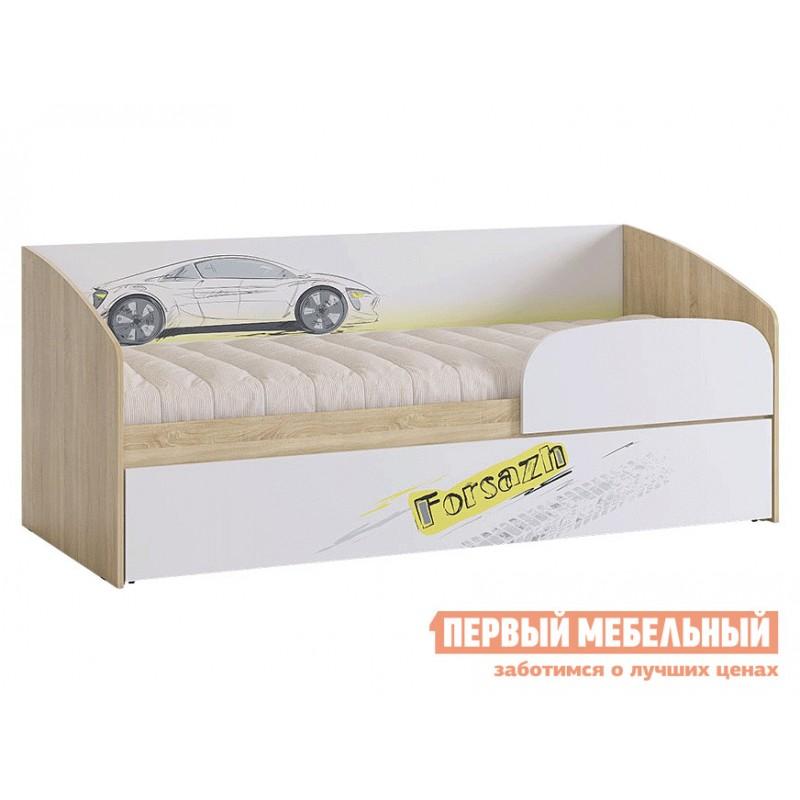 Детская кровать  Кровать Форсаж MKF-07.1623 Дуб сонома / Белый, С бортиком