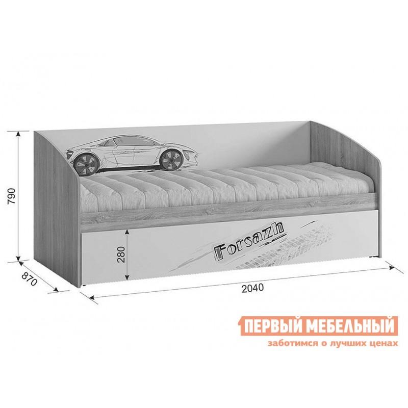 Детская кровать  Кровать Форсаж MKF-07.1623 Дуб сонома / Белый, С бортиком (фото 4)