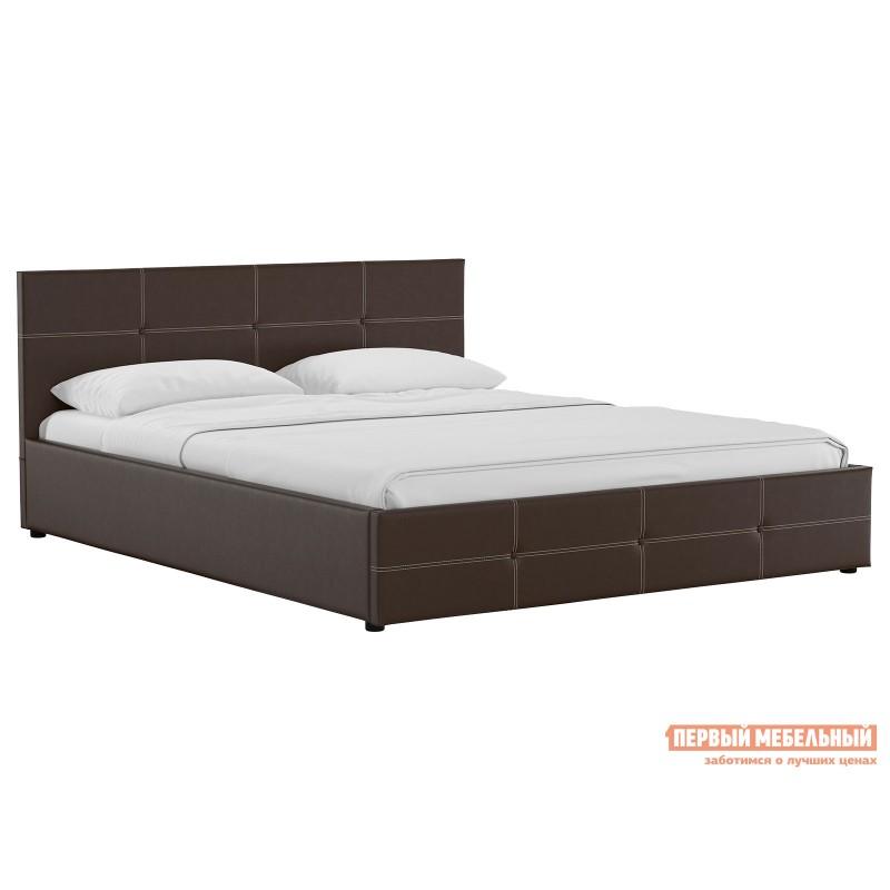 Двуспальная кровать  Кровать Синди с подъемным механизмом 160х200 Шоколад, экокожа