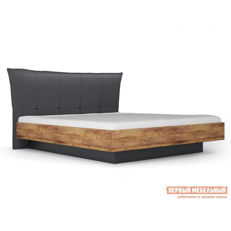 Двуспальная кровать  Кровать с подъемным механизмом Вега Бавария Таксония медовая / Кожа поло графит, 1600 Х 2000 мм