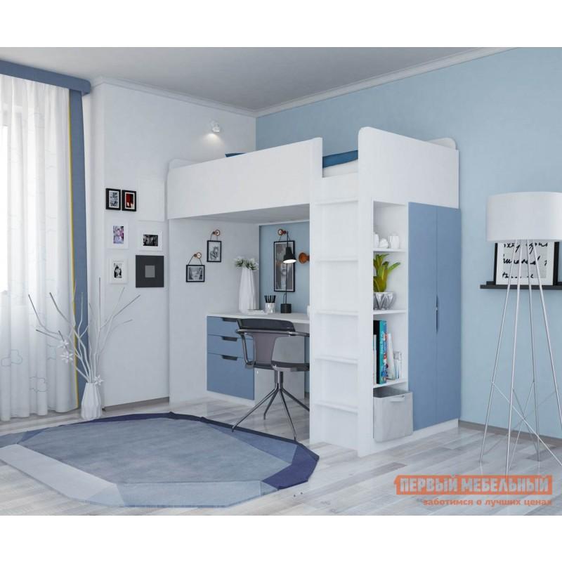 Кровать-чердак  Кровать-чердак Polini kids Simple с письменным столом и шкафом Белый / Синий