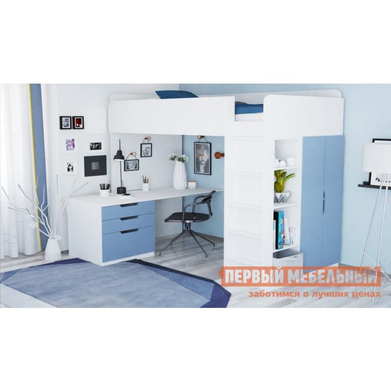 Кровать-чердак  Кровать-чердак Polini kids Simple с письменным столом и шкафом Белый / Синий (фото 2)