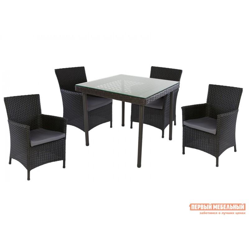 Комплект садовой мебели  MUNICH Черный, ротанг / Серый, ткань