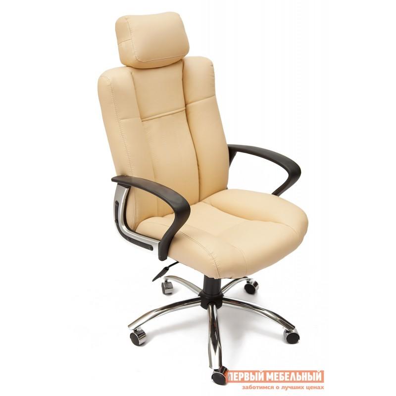 Кресло руководителя  Oxford хром Иск.кожа бежевая перфор. (36-34/36-34/06)