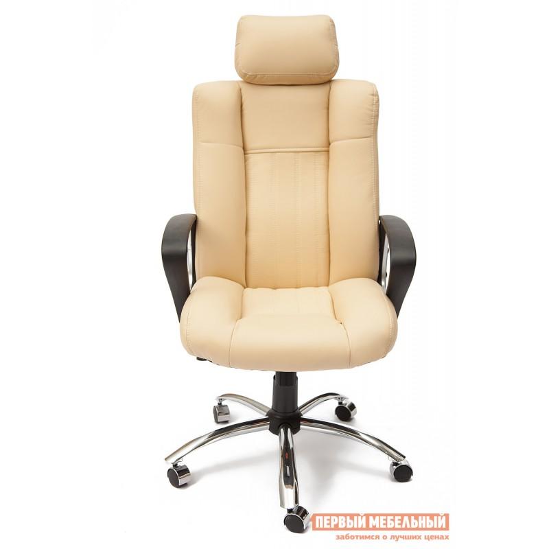 Кресло руководителя  Oxford хром Иск.кожа бежевая перфор. (36-34/36-34/06) (фото 2)
