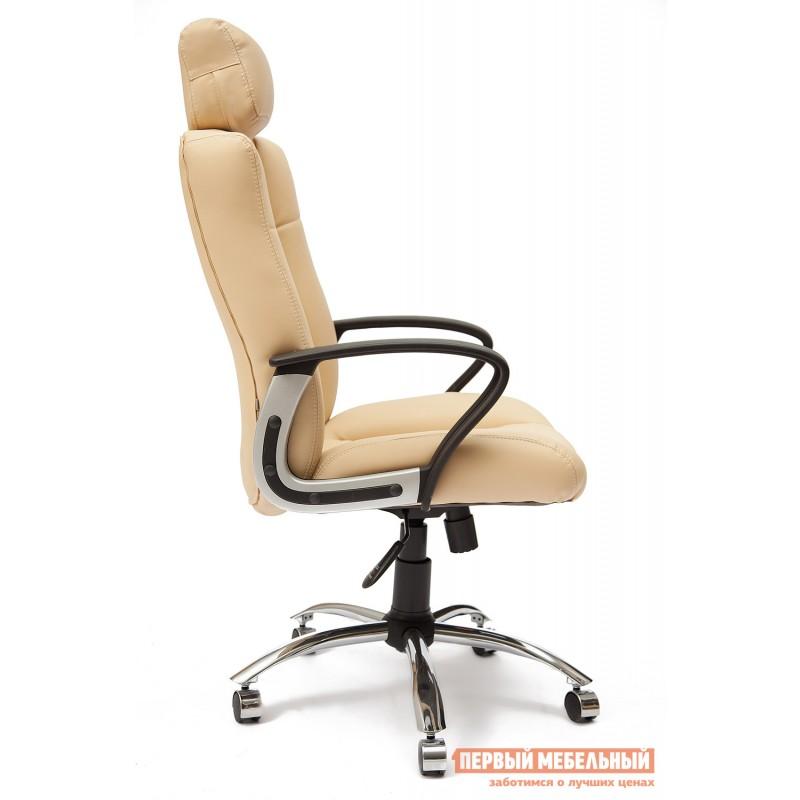 Кресло руководителя  Oxford хром Иск.кожа бежевая перфор. (36-34/36-34/06) (фото 3)
