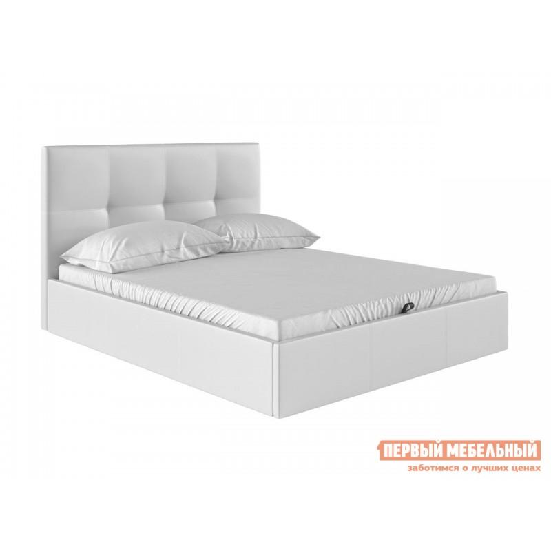 Двуспальная кровать  Верда Белый, экокожа , 140х200 см