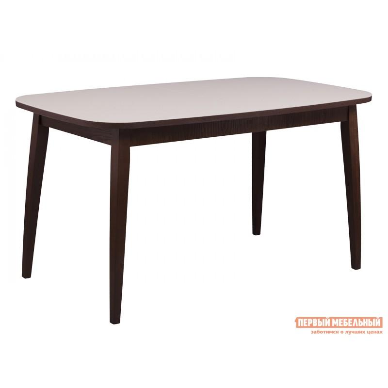 Кухонный стол  Стол Турин Орех темный / Стекло бежевое матовое
