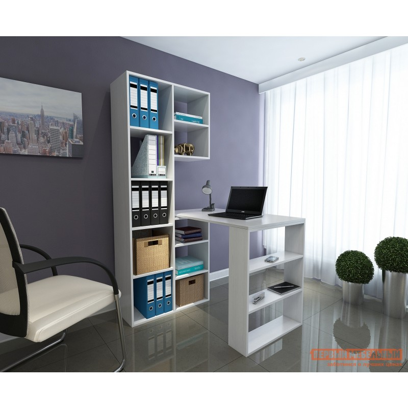 Компьютерный стол  Рикс-2 + Рикс-5 Белый (фото 2)