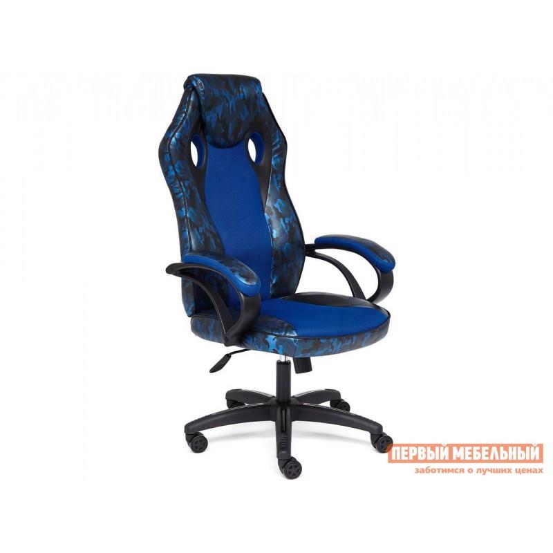 Игровое кресло  Кресло RACER GT MILITARY Принт хаки синий иск. кожа / Синий, сетка