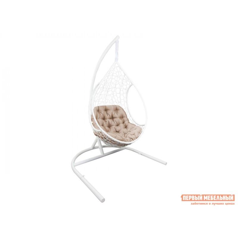 Подвесное кресло  ЛИРА Белый, ротанг / Бежевый, ткань