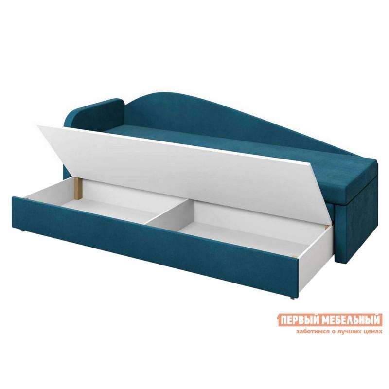 Прямой диван  Верди Синий, велюр, Левый (фото 3)