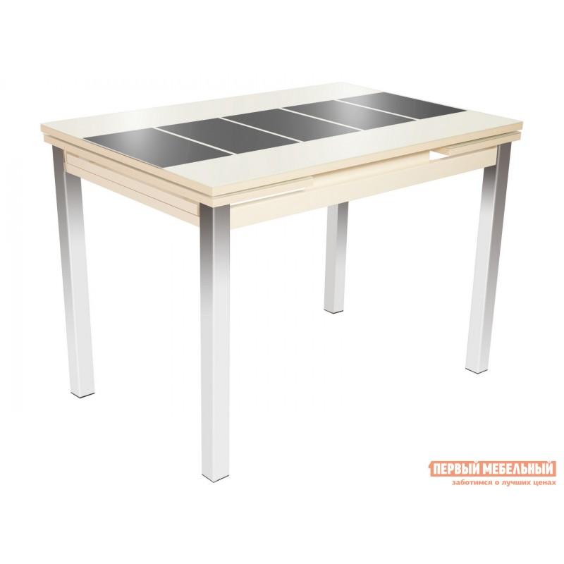 Кухонный стол  Стол Шанхай (110/170*74) Стекло Молочное, Рисунок Коричневый / ЛДСП Крем