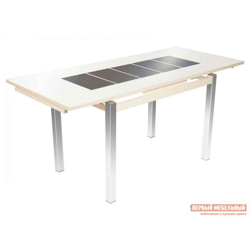Кухонный стол  Стол Шанхай (110/170*74) Стекло Молочное, Рисунок Коричневый / ЛДСП Крем (фото 2)