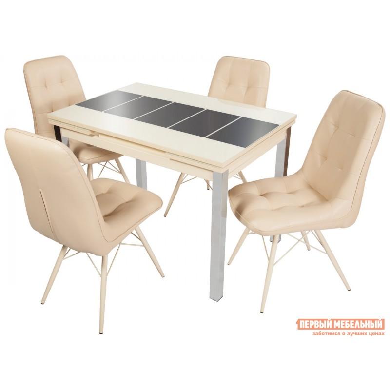 Кухонный стол  Стол Шанхай (110/170*74) Стекло Молочное, Рисунок Коричневый / ЛДСП Крем (фото 4)