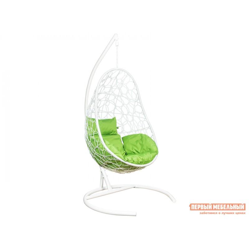 Подвесное кресло  Ажур Белый, ротанг / Зеленое яблоко, ткань