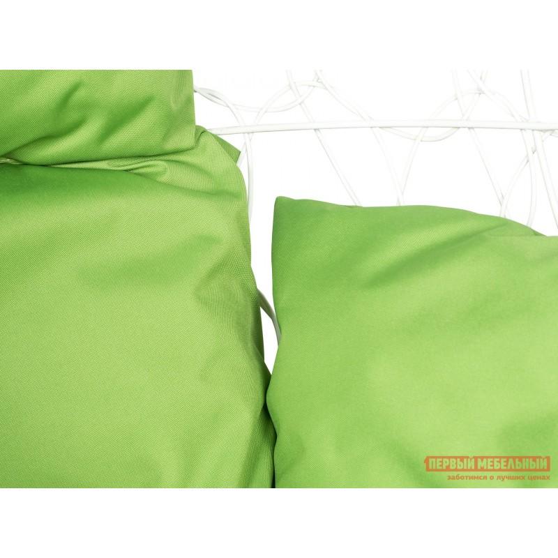 Подвесное кресло  Ажур Белый, ротанг / Зеленое яблоко, ткань (фото 2)