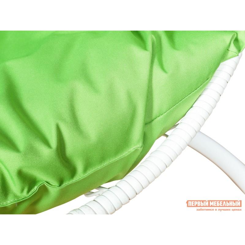 Подвесное кресло  Ажур Белый, ротанг / Зеленое яблоко, ткань (фото 3)