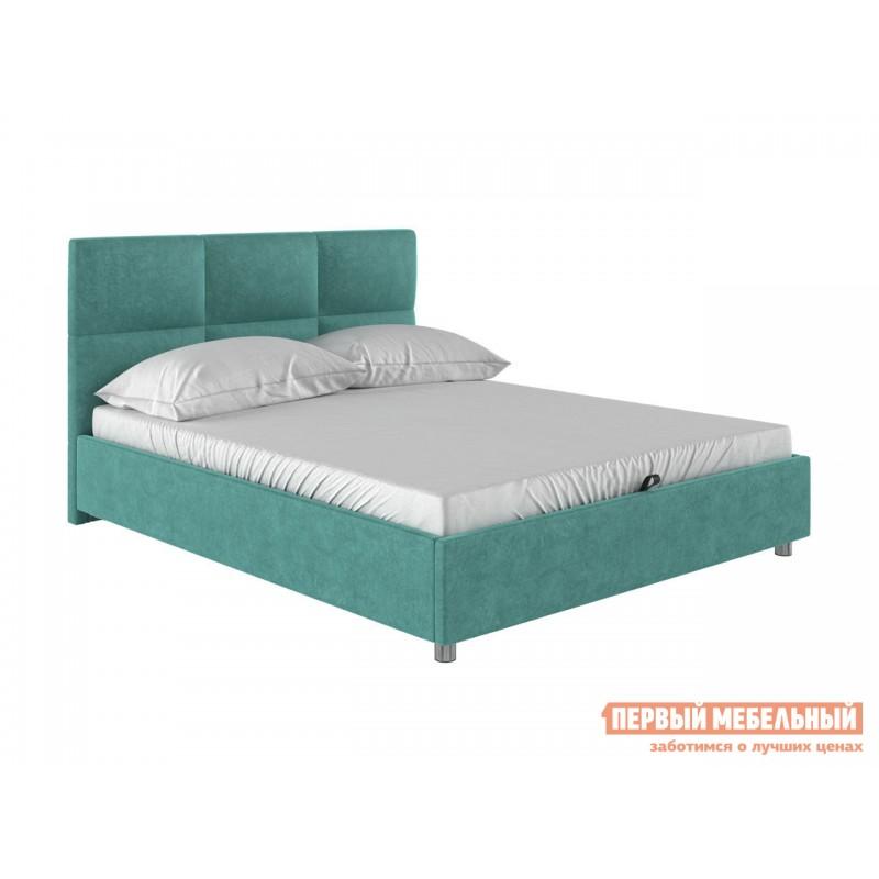 Двуспальная кровать  Кровать с мягким изголовьем Агата Мятный, велюр, 140х200 см