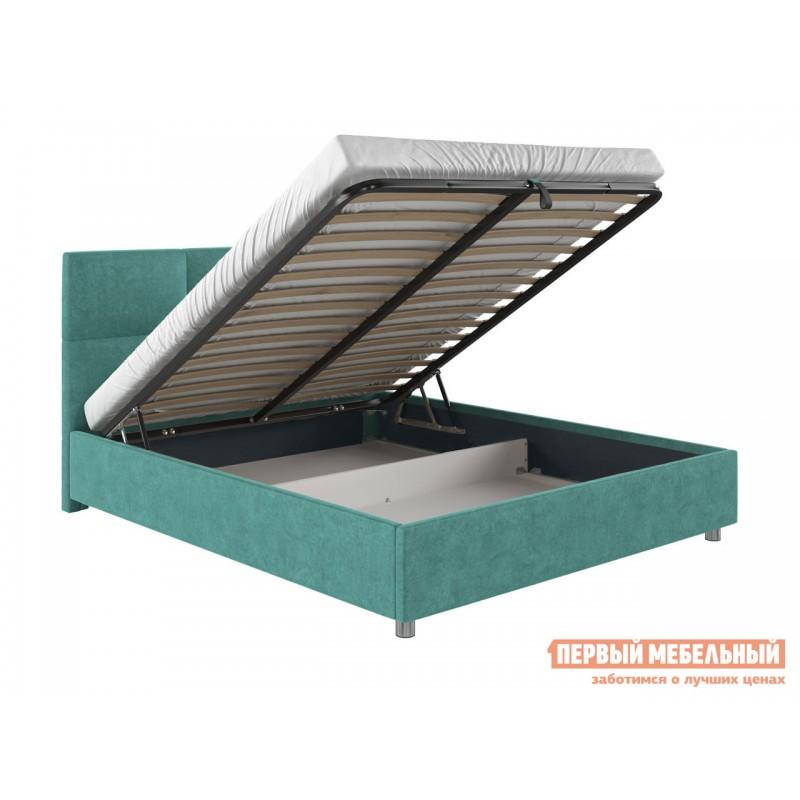 Двуспальная кровать  Кровать с мягким изголовьем Агата Мятный, велюр, 140х200 см (фото 2)