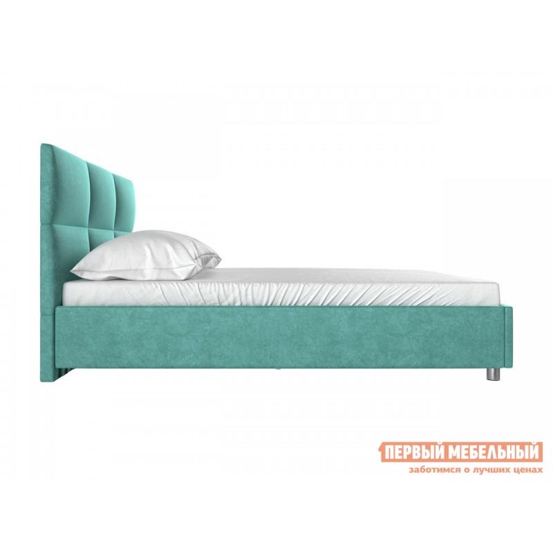 Двуспальная кровать  Кровать с мягким изголовьем Агата Мятный, велюр, 140х200 см (фото 3)
