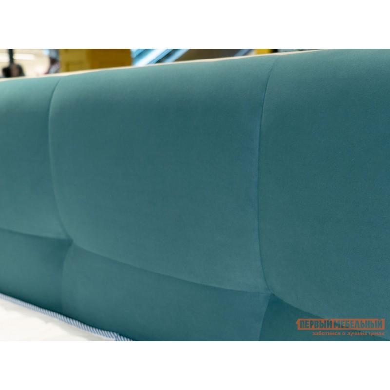 Двуспальная кровать  Кровать с мягким изголовьем Агата Мятный, велюр, 140х200 см (фото 5)