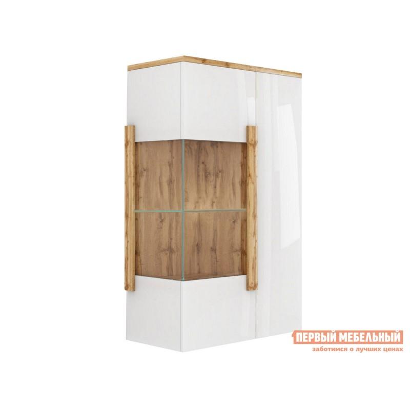 Шкаф-витрина  Витрина навесная 2-х дверная 1902.М1 Дуб Ватан / Белый лак, Без подсветки, С топом-накладкой